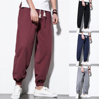 Comfortable Cotton Linen Casual Pants Men Ankle Length Plain Solid Drawstring Harem HipHop Baggy Joggers Wide Legs Pants M 5XL