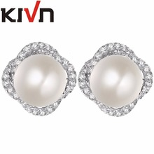 KIVN Jewelry Womens Flower Pave CZ Cubic Zirconia Wedding Bridal Stud Simulated Pearl Earrings Mothers Birthday Christmas Gifts