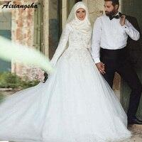 Свадебное платье мусульманское 2019 благородный аппликация с длинным рукавом белая слоновая кость для новобрачных платье исламский, арабски