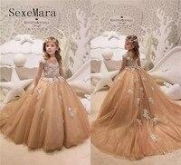 Champagne Gold платье с цветочным узором для девочек Jewel шеи Кепки рукава кружево детская одежда на вечеринку Платье для первого причастия Пышное