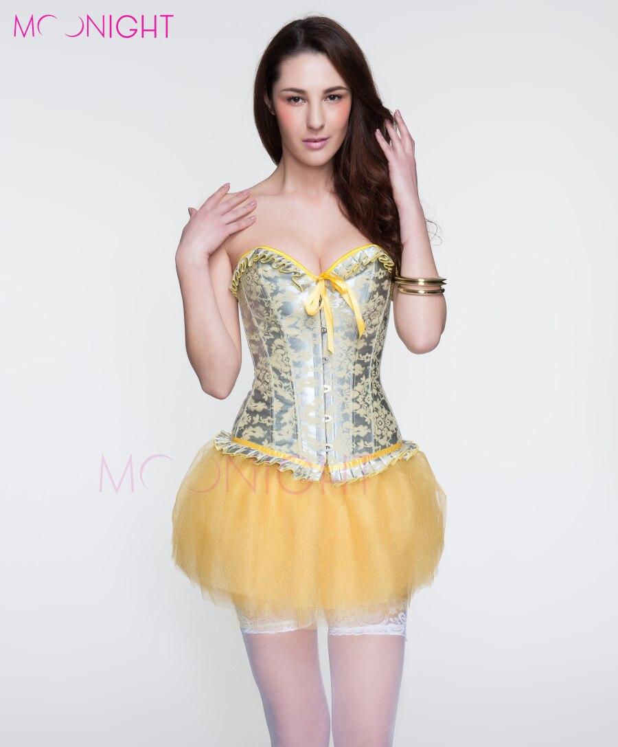 MOONIGHT New Yellow   Corset   Flower Print Corselet Sexy   Bustier   Women Satin   Corset   Push Up Slim Waist   Corset   Korsett For Women