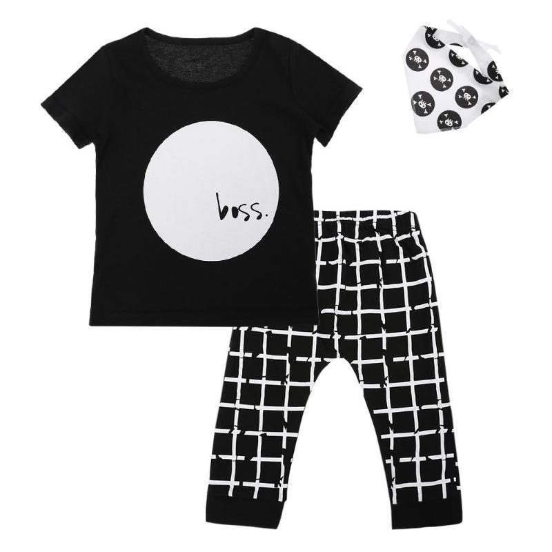 3pcs/Set Children Summer Clothes Set Baby Girls Boys Short Sleeve O-neck T-shirt + Plaid Harem Pants + Burp Cloth Set Outfits ...