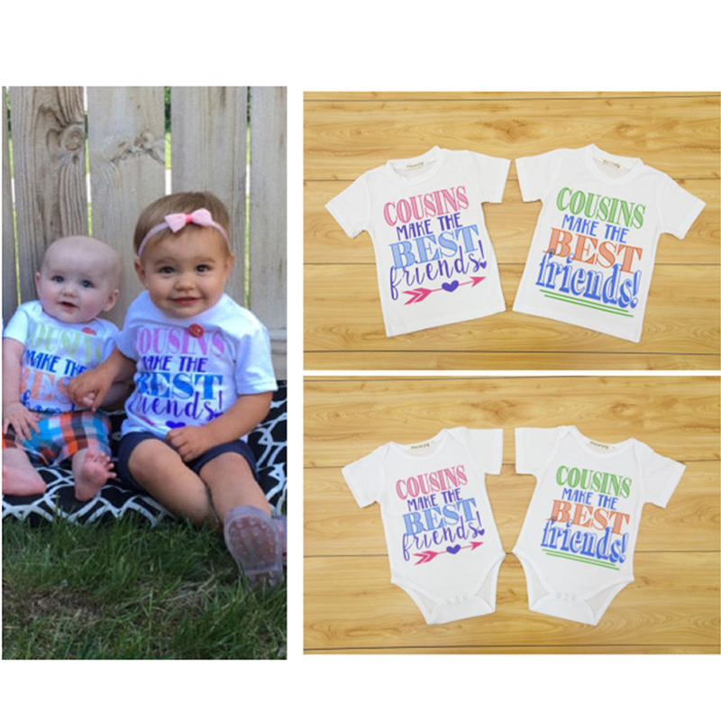 Funny Baby Clothes 2018 Cousins Make The Best Friends Short Sleeve Baby Unisex Bodysuits Baby Kids Clothes White T Shirts Top the best best baby page 6