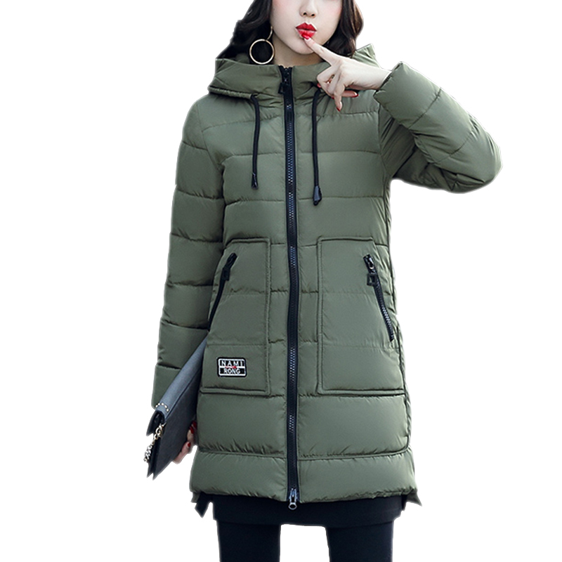 2017 Many Colors Parkas For Women Winter Coat Medium Long Thick Cotton Padded Pocket Jacket zipper With Hood chaqueta mujer Coat women s cotton padded long jacket winter leisure wild long cashmere wool liner coat casual pocket zipepr parkas mujer jy 805