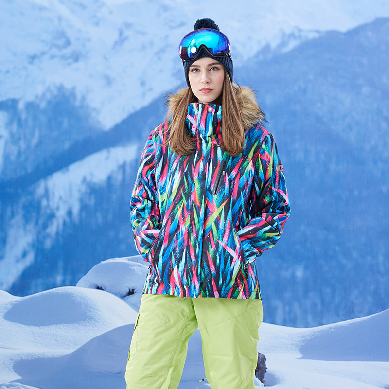 Winter New Ski Jacket Women Colorful Leaf Pattern Super Warm Snowboard Jacket Female Wat ...