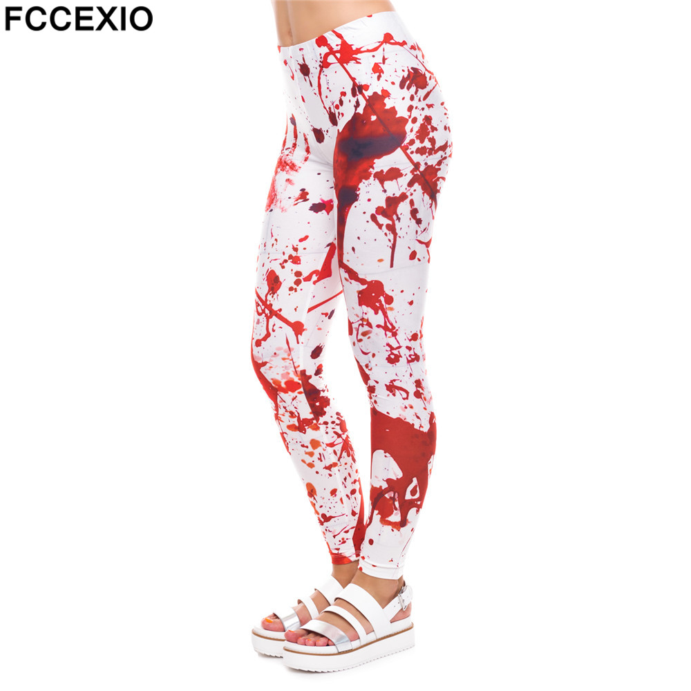 FCCEXIO New Halloween Cosplay Women   Leggings   Blood 3D Print Leggins Fitness   Legging   Sexy Slim High Waist Woman Summer Pants