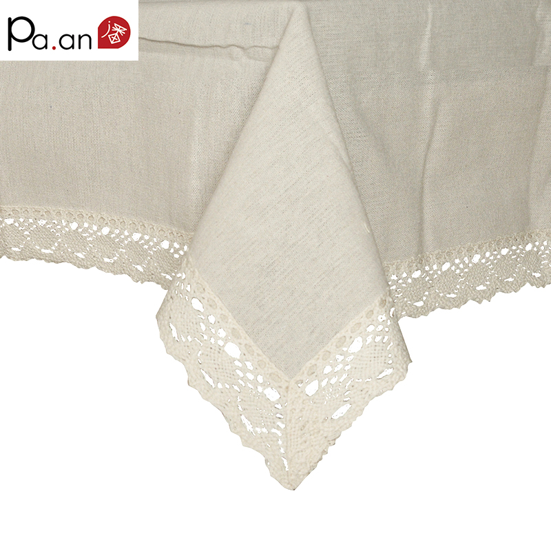 Beige Linen Cotton Table Cloth Rectangular Lace Edge