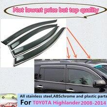 Для Toyota Highlander 2008-2014 Одежда высшего качества кузова Лампы Stick Пластиковые окна стекло Ветер козырек Дождь/ВС гвардии вентиляционные часть 4 шт.