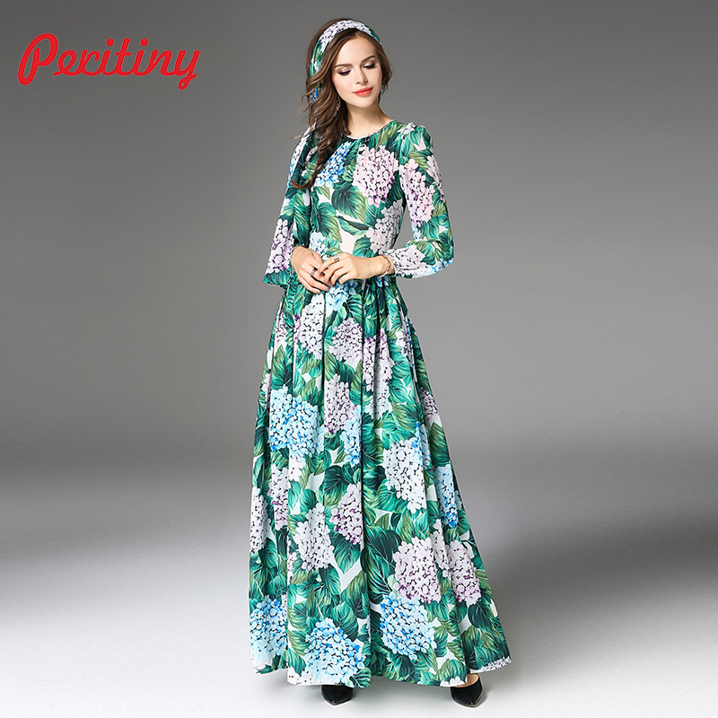 261422e04f7 Peritiny Women vestido longo Chiffon Dress Autumn New Style Floral Green  Palm Leaf Printed Female Slim Party Maxi Long Dresses-in Dresses from  Women s ...