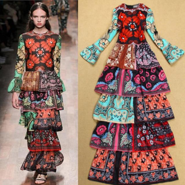 2f298e260c6a2 US $72.25 15% OFF|2018 Spring Long Sleeve Large Size XXL XXXL 4XL Cascading  Ruffle Layered Floral Print Vintage Runway Designer Maxi women Dress-in ...