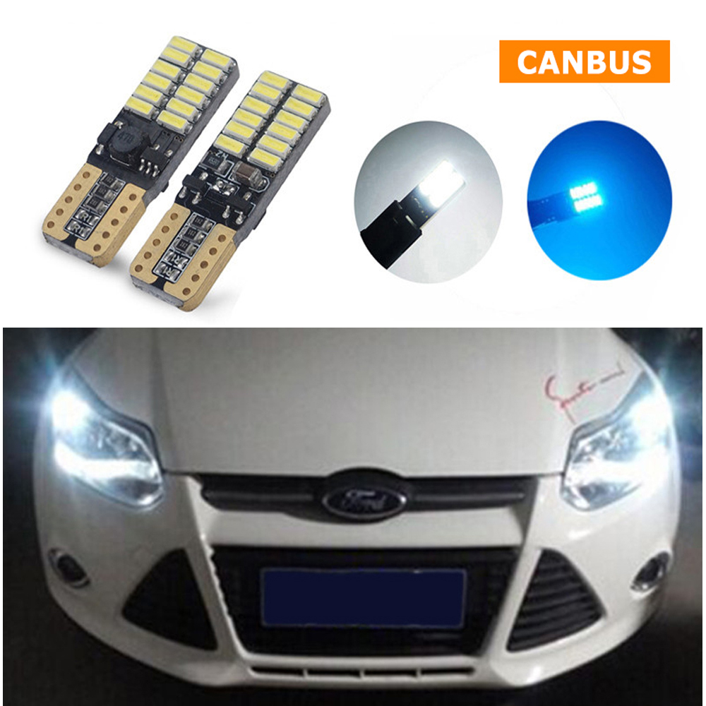2xFor Ford Focus 2 3 1 Fiesta Mondeo 4 3 Transit Fusion Kuga Ranger Mustang Ecosport KA T10 W5W LED Car Clearance Parking Light wljh 2x canbus car 5630 smd t10 led w5w projector lens auto lamp light bulbs for ford focus 2 3 fiesta mondeo ecosport kuga drl