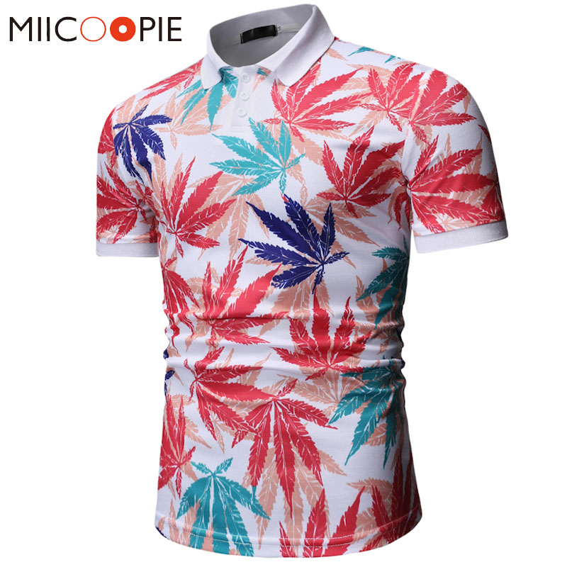 2019 Summer Camisa   Polo   Shirt Men Multicolor Maple Leaf Printed Slim Short Sleeves Classic Floral Mens   Polo   Homme M-XXXL
