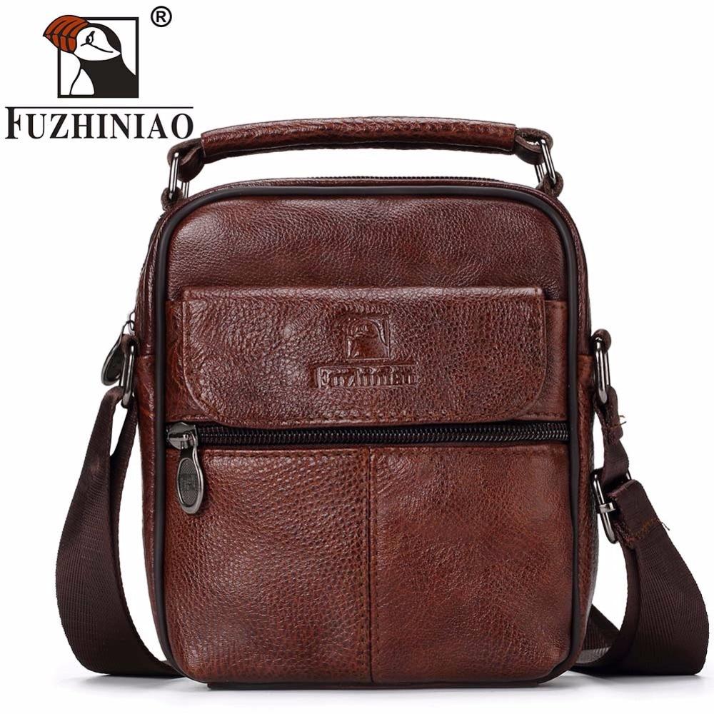 купить FUZHINIAO Mini Fashion Business Genuine Leather Men Messenger Bags Promotional Small Crossbody Shoulder Bag Casual Man Hanbags онлайн
