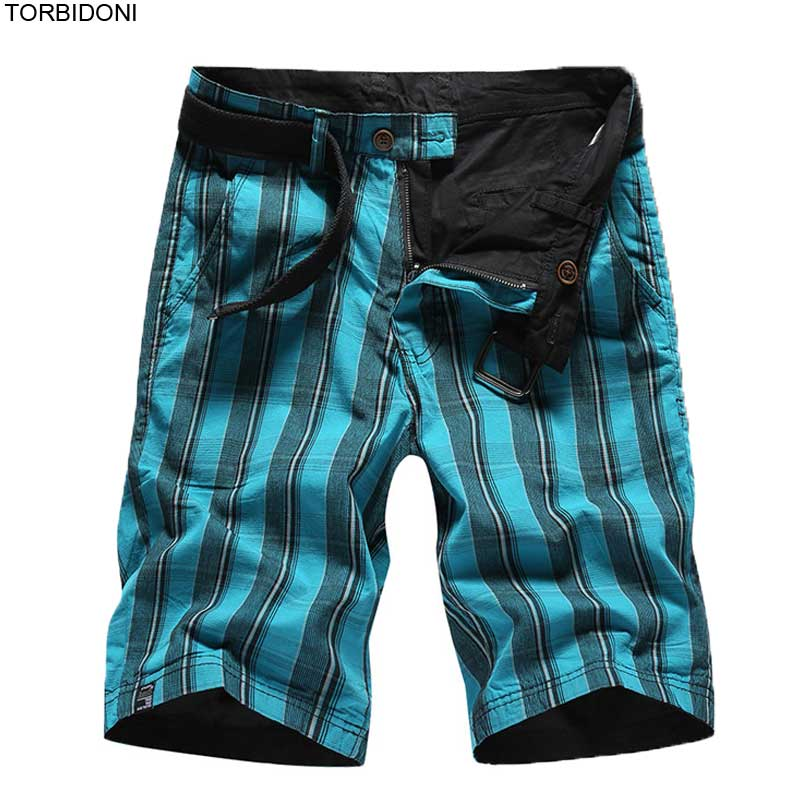 Reversible Plaid Cargo Shorts Men Brand Clothes Active Workout New Fitness Male Beach Board Short Bermuda Masculina Breathable