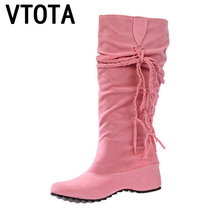 VTOTA Woman Wedges Boots Platform Tassel Faux Suede Mid-Calf Slip On Botas Mujer Women Autumn Black Student Shoes H149