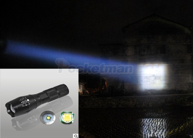 Most bright 5-Mode Pocketman T6/L2/V6 LED Flashlight with charger Zoomable rechargeable Focus Light Torch Lantern by 1*18650
