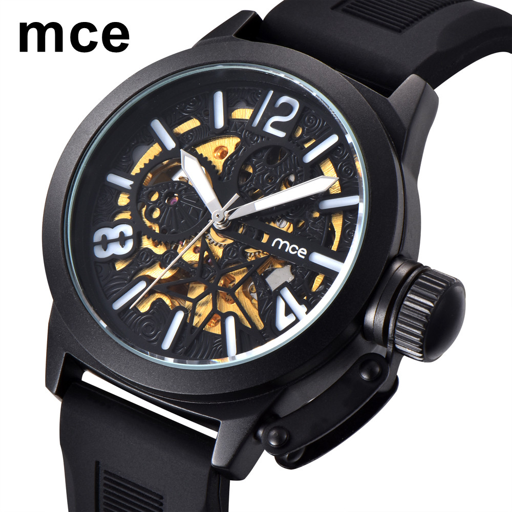 MCE Mens Mechanical Watches Top Luxury Brand Sports Watch Men Military Leather Waterproof Male Clock Relogio Masculino mce top luxury brand men mechanical watch waterproof leather men s skeleton casual wrist watches for men relogio masculino 2016