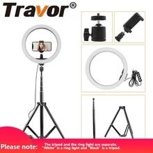 """Travor 12 """"USB LED halka ışık 160 LEDs dim 2700 K 5500 K yuvarlak fotoğraf lamba ve tripod stüdyo fotoğraf ışık halkası"""