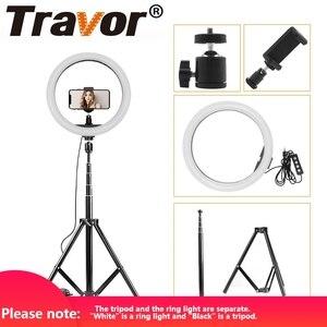 """Image 1 - Travor 12 """"USB LED lumière annulaire 160 LED s Dimmable 2700 K 5500 K lampe Photo circulaire et trépied pour anneau de lumière photographique de Studio"""