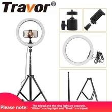 """Travor 12 """"Usb Led Ring Light 160 Leds Dimbare 2700 K 5500 K Circulaire Foto Lamp En Statief voor Studio Fotografische Licht Ring"""
