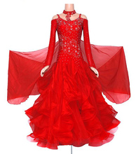 Red Ballroom Competition Dance Dresses Women's Long Sleeve Waltz Tango Dance Costume Standard Ballroom Dancing Dress