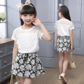 Girls Clothing Sets Short Sleeve White T-Shirts For Girls Floral Print Skirts 2Pcs Summer 2016 Kids Outfits 2 6 8 10 12 14 Years