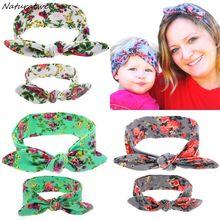 Naturalwell Mom and me turban headband Elastic Bowknot Floral Headband Rabbit Headwrap Photo Prop Hair Accessories 1 Set HB515