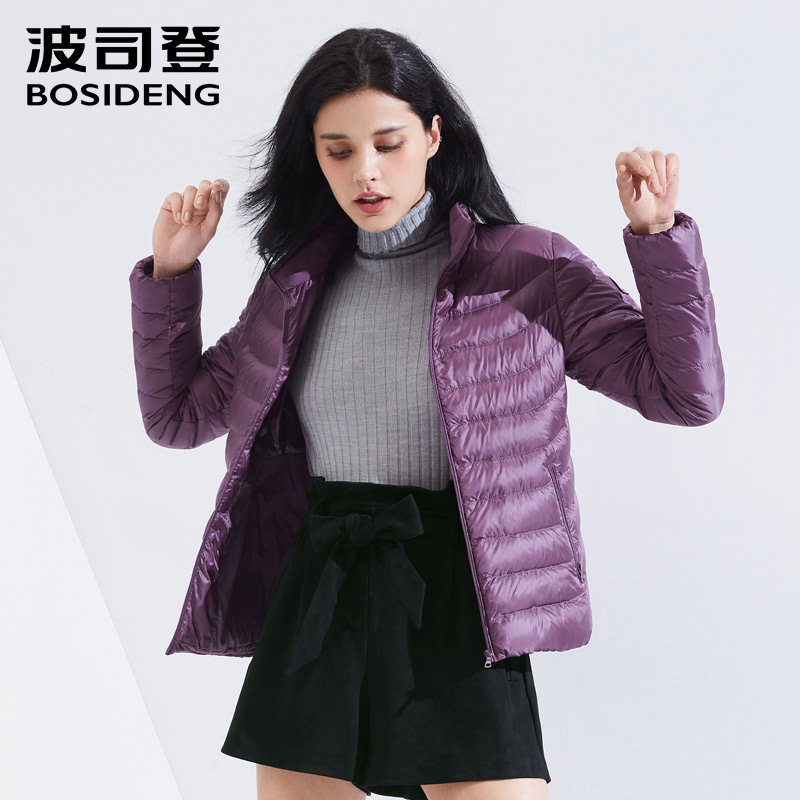 BOSIDENG 2018 new early winter duck   down   jacket for women   down     coat   ultra light high quality solid color warm B80131522