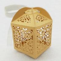 100pcs Gold Cross Box Primary Communion Baptism Decoration Wedding Favors And Gift Decoration Christening Shower Decor