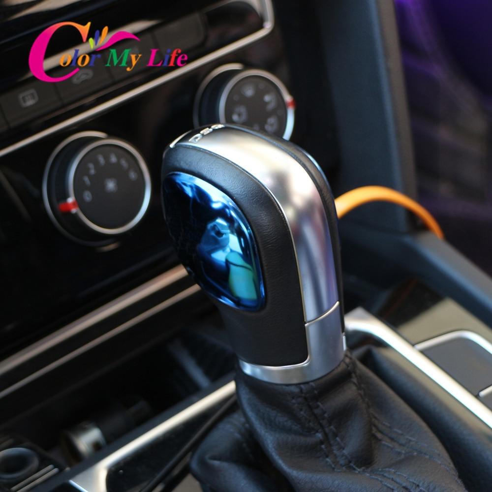 Color My Life Car Gear Head Shift Knob Cover Trim Sticker For VW Passat CC B7 Golf 6 7 MK6 MK7 Jetta MK6 DSG AT Shift Knob