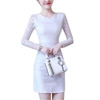 Cộng với kích thước 4XL ren Dresses women 2017 Autumn winter o-cổ dài Tay trắng đen Ăn Mặc slim sexy văn phòng đảng Dress vestidos