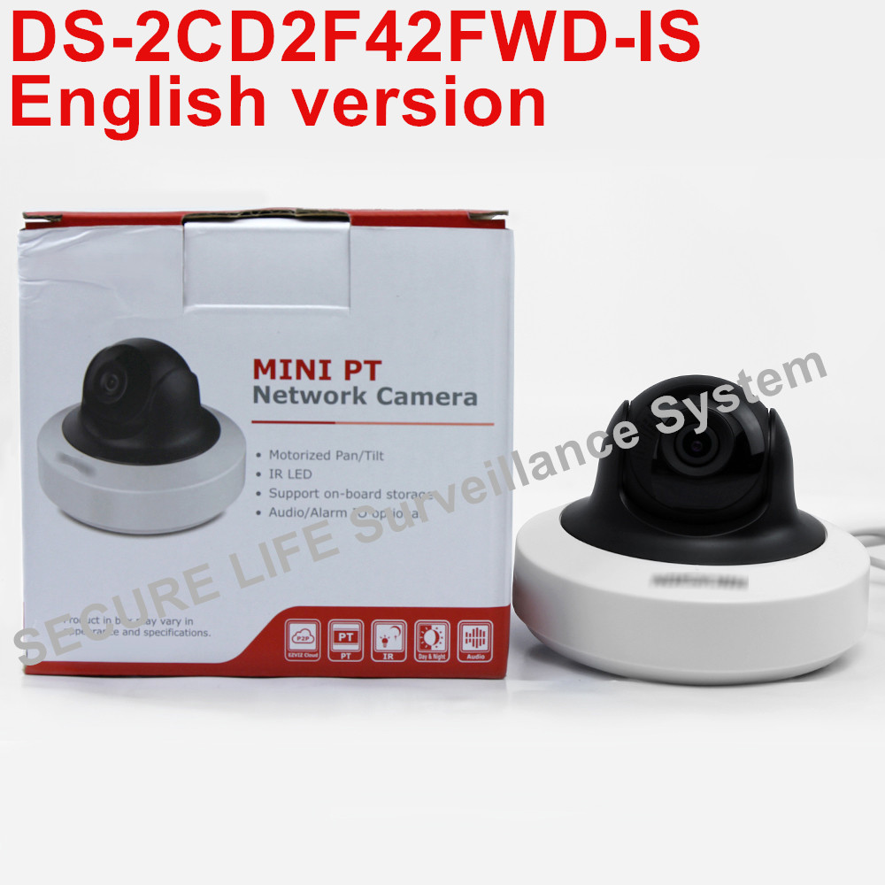 English version DS-2CD2F42FWD-IS 4MP WDR Mini PT Network cctv Camera, MINI  dome IP CAMERA POE SD card recording, alarm фразеологизмы обиходной жизни mini cd