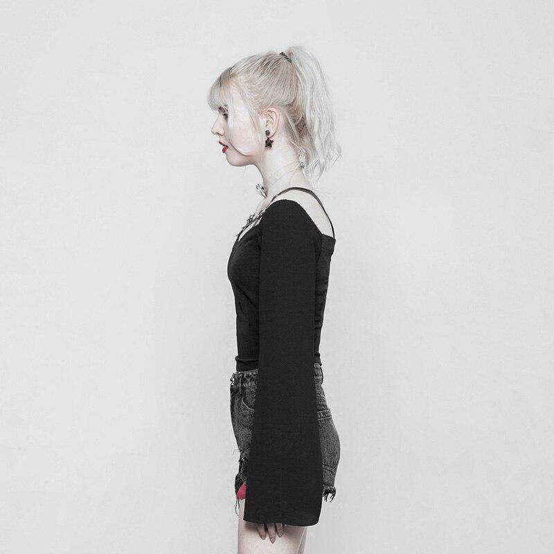 Punk Rave noir gothique mode fermeture éclair décoration en mousseline de soie femmes Sexy court t-shirts hauts visuel Kei OPT230 - 3