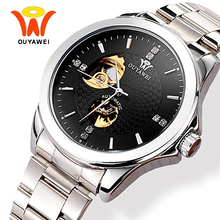 Men's Skeleton Automatic Self Winding Watches Men Ouyawei Fashion Classic Silver Automatic Mechanical Wrist Watch Horloges Manne