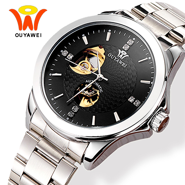 9af73684de1 Men s Skeleton Automatic Self Winding Watches Men Ouyawei Fashion Classic  Silver Automatic Mechanical Wrist Watch Horloges Manne