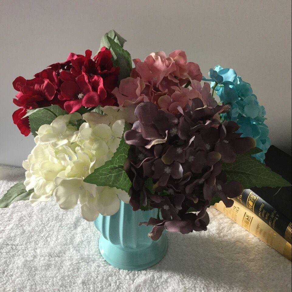 1 pc 37 cm Lifelike Hortênsia Flor Artificial Com Grandes Folhas de - Para feriados e festas