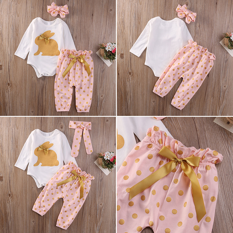 3pcs Newborn Infant Baby Girls Summer Clothes Romper Playsuit Pants Outfits Set