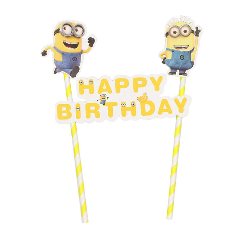Groovy 1Set Minions Paper Straw Cupcake Topper Flags Cartoon Party Personalised Birthday Cards Cominlily Jamesorg