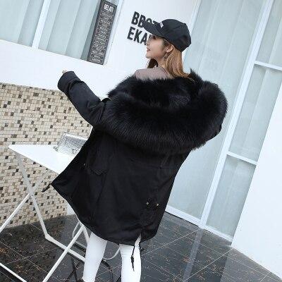 Jacket Women Winter Parkas Long Big Fox Fur Collar Hooded Coats 2018 Ladies Fur Linen Thickened Warm Jackets Plus Size Coat LZ962 (6)