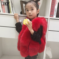2017 Winter New Children's Real Fox Fur Vest Baby Girls Warm Short Fox Fur Clothing Vest Kids Vests Coat