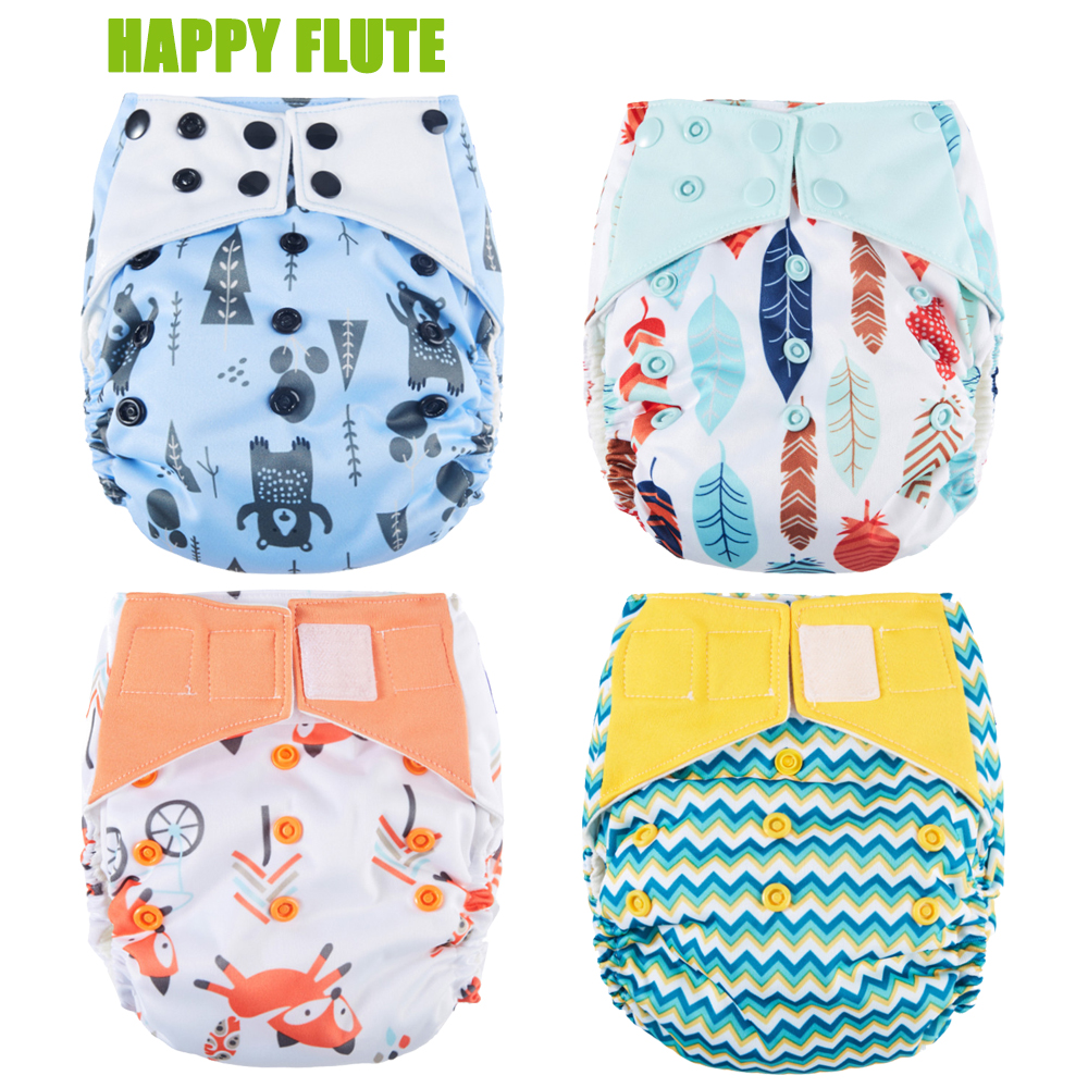 Happy Flute Overnight AIO Cloth Diaper Night Use Ciężkie Wetter Baby Pieluch Bamboo Charcoal Double Gussets Fit 5-15 kg
