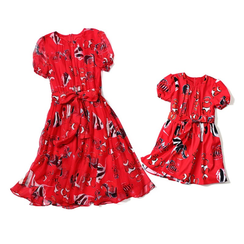 Mother Daughter Dresses Mama Bebes Vestidos Mom and Daughter Wedding Dress Lady Bug Costumes Family Matching Outfits Clothing children clothing mother and daughter dress xl xxxl lady women infant kids mom girls dress with dancing rabbit beautiful skirt