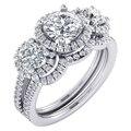 EDI Clásico de Tres Piedra Moissanite (D A F) Centro Redondo 1CT Lab Grown Diamond 14 k Oro Blanco Anillo de Compromiso Juegos de boda Anillo