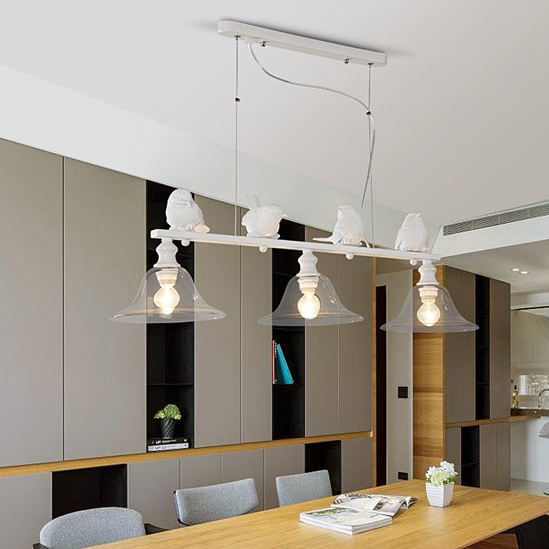 2018Chandelier Nordic creative lamp study bedroom living room light restaurant balcony resin simple modern glass bird