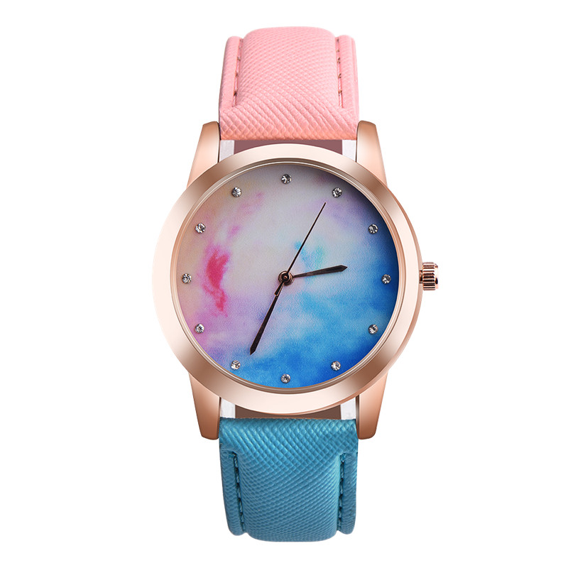 2017 OKTIME Retro Rainbow Design Leather Band Analog Alloy Quartz Wrist Watch Dropship J6152 2017 hot sale women s clock retro rainbow design watches pu leather band analog alloy quartz wrist watch relogio feminino m22