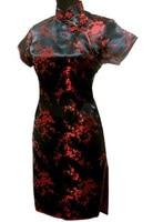 Women S Formal Evening Party Short Qipao Dress Silk Mini Cheongsam Chinese Tradition Tang Suit Black