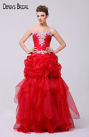 Custom Made Red Evening Dresses Bất Hình Ảnh Sweetheart Cổ Đính Beaded Pleat Tầng Length Evening Gowns