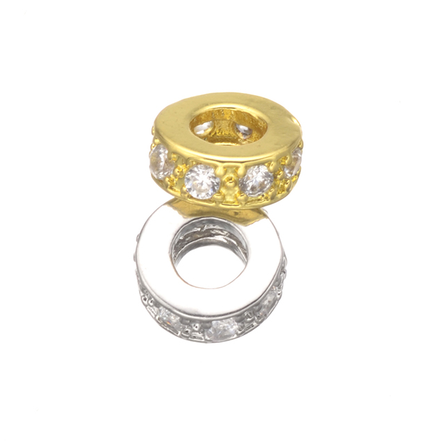 7mm Gold Silver Rose gold Color Copper Metal Zircon Rondelles