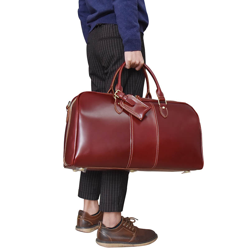Women Vintage genuine leather Travel bag Red Zip Around Shiny Real Leather  Travel Duffle Men Shoulder Bag Cowhide Boston Bag -in Travel Bags from  Luggage ... 87c91febf455a