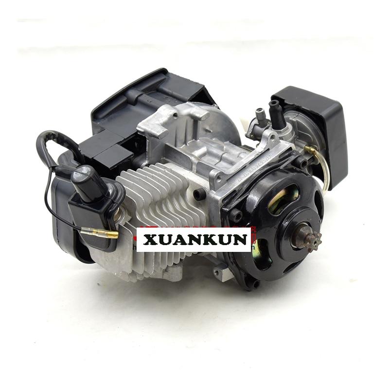 XUANKUN מנוע מכונית ספורט קטן אופנוע מיני יד למשוך להתחיל מנוע 49CC שתי פעימות מנוע בנזין
